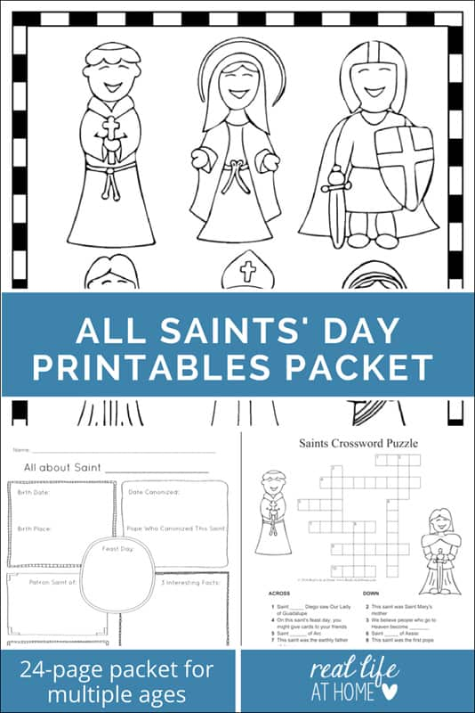 All Saints\' Day Printables Packet for Elementary and Middle School Kids