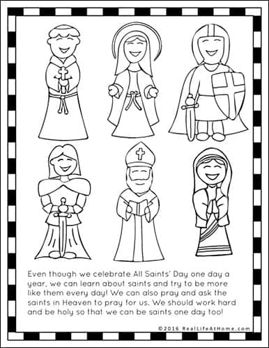 All Saints' Day Coloring Page Featured in the All Saints' Day Printables Packet from Real Life at Home