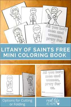 Looking for a fun and easy activity for All Saints' Day? This free printable All Saints' Day coloring page was inspired by the Litany of Saints. It's perfect for kids celebrating All Saints' Day.