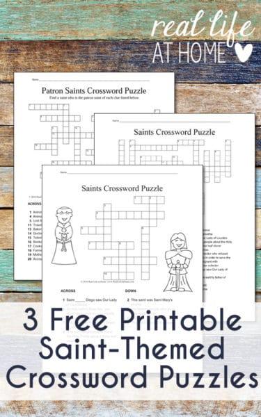 Catholic Saints Crossword Puzzle {Free Printables