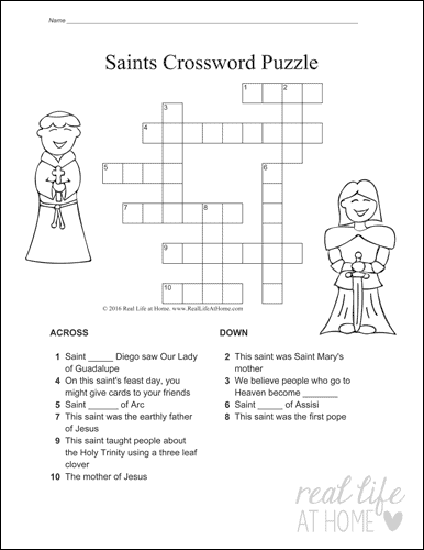 Easy Saints Crossword Puzzle Version 1
