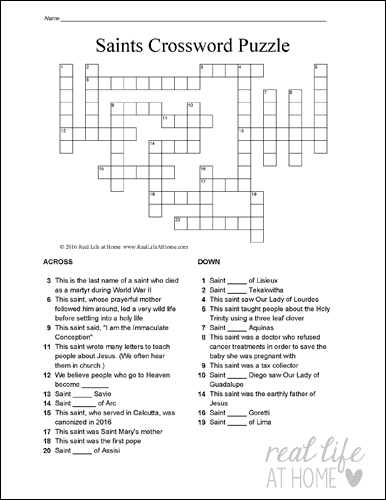 graphic relating to Printable Bible Crossword Puzzles identified as Catholic Saints Crossword Puzzle Absolutely free Printables; 3