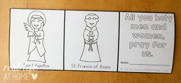 All Saints Day Coloring Page Litany of Saints Mini Book