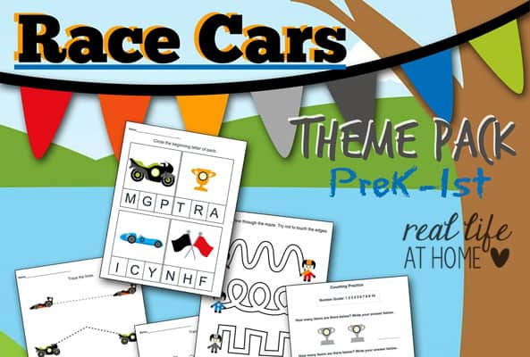 Race Car Printables for Preschool and Kindergarten {Free Packet}