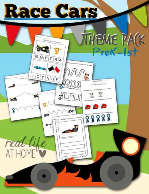 Looking for some race cars worksheet fun for your preschooler or kindergartner? Click through to get the instant downloadable race car printables packet! | Real Life at Home