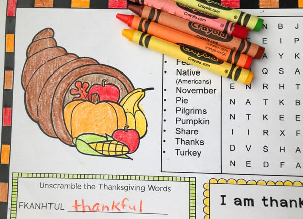 image relating to Printable Thanksgiving Activities named Thanksgiving Recreation Web site or Placemat for Children Absolutely free Printable
