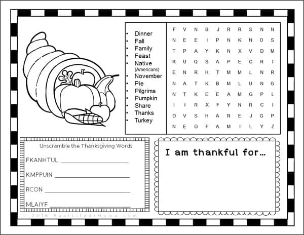 photograph about Printable Thanksgiving Placemat referred to as Thanksgiving Video game Website page or Placemat for Small children Cost-free Printable