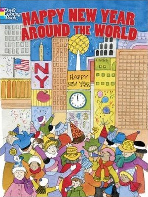 Coloring book featuring New Year's Eve and Day celebrations around the world