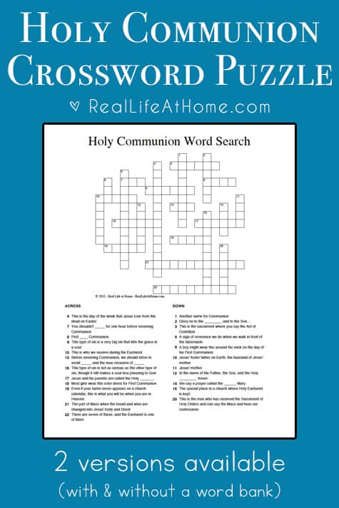 photograph about Free Printable Crossword Puzzles for Kids known as Holy Communion Crossword Puzzle Best for Very first Communion