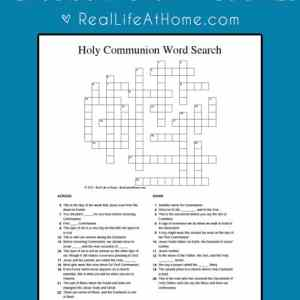 A free printable Holy Communion crossword puzzle, perfect for Catholic kids preparing for First Communion or those already receiving Holy Communion.   Real Life at Home