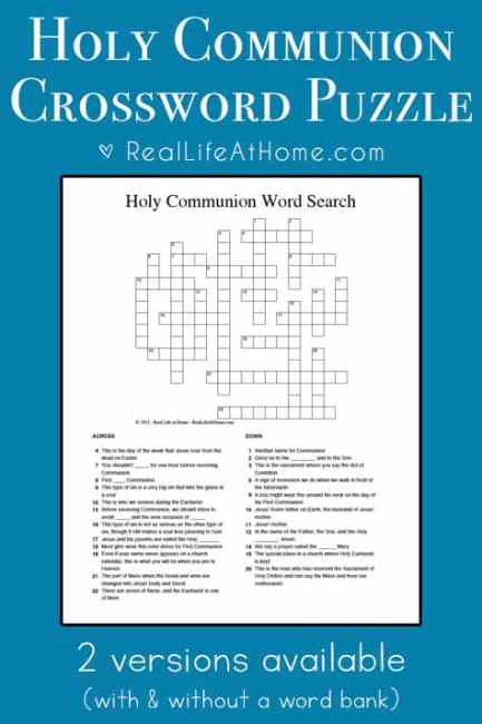 Holy Communion Crossword Puzzle {Perfect for First ...