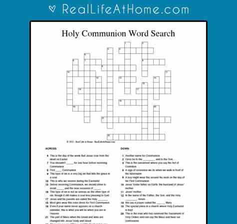 Holy Communion Crossword Puzzle {Perfect for First Communion Students}