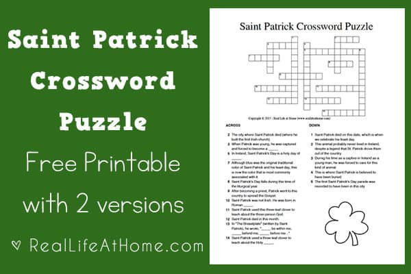 Saint Patrick Crossword Puzzle Printable {2 Versions} | Real Life at Home