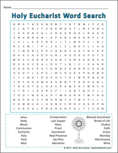 image relating to Printable Children's Bible Word Search Puzzles called Holy Communion Term Glimpse Printable Excellent for Initial