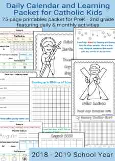 Daily Learning Notebook and Calendar Printables for Catholic Kids