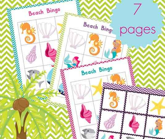Fun Summer Games: Printable Beach Bingo Cards