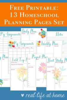 This free 14 page homeschool planning printables set includes pages perfect to use as a homeschool planner or to supplement the one you currently use. Over half of the pages included would also be perfect for non-homeschoolers to use for work or home, such as monthly goals, project planning, daily planning, and more. | Real Life at Home