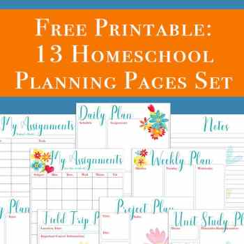 This free 13 page homeschool planning printables set includes pages perfect to use as a homeschool planner or to supplement the one you currently use. Over half of the pages included would also be perfect for non-homeschoolers to use for work or home, such as monthly goals, project planning, daily planning, and more.   Real Life at Home