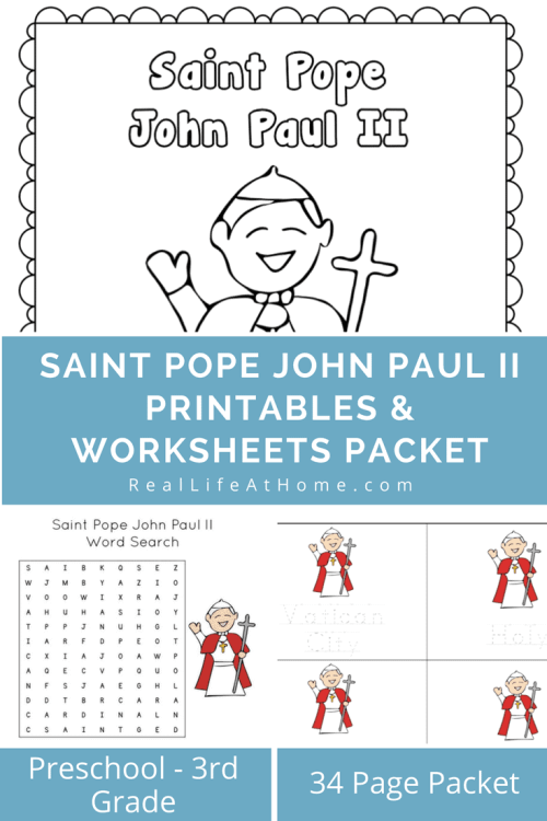 Looking for some activities while celebrating or learning about Saint John Paul the Great or just some fun Catholic printables? Perfect for preschool and elementary students, here is a Saint Pope John Paul II printables and worksheet packets set! | Real Life at Home