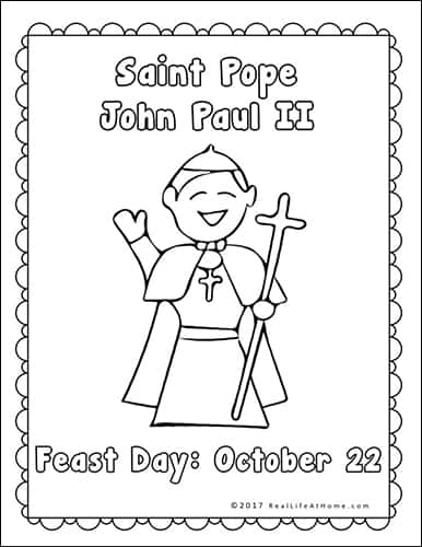 Saint Pope John Paul II Coloring Page