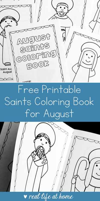 Looking for a saint activity for August? This free printable saints coloring book for August is a perfect Catholic coloring book for kids learning about saints with feast days in August. | Real Life at Home