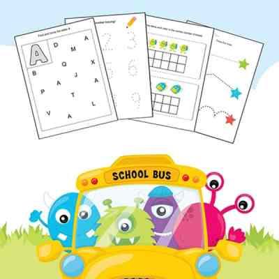 Working on basic skills for kindergarten and preschool? Grab this free 19 page Kindergarten and Preschool Skills Worksheets Printable Packet.   Real Life at Home #preschool #kindergarten #printables