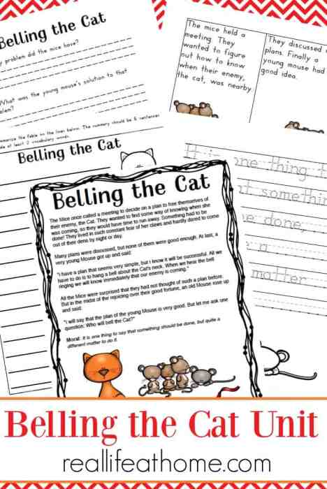 Aesop Fables Worksheets Packet Belling The Cat Printables