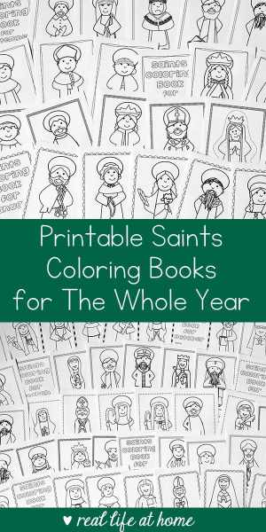 Looking for a saint activity to do with children? This bundle includes saints coloring books for the whole year and is perfect for Catholic kids! | Real Life at Home