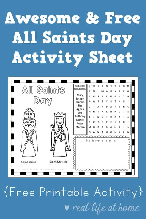 Awesome and Free All Saints Day Activity Sheet Printable