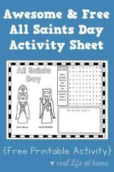 Looking for a printable with activities for All Saints Day? This All Saints Day activity sheet is a fun free printable perfect to use with children. #CatholicPrintables   Real Life at Home