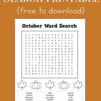 October Word Search Printable for Kids
