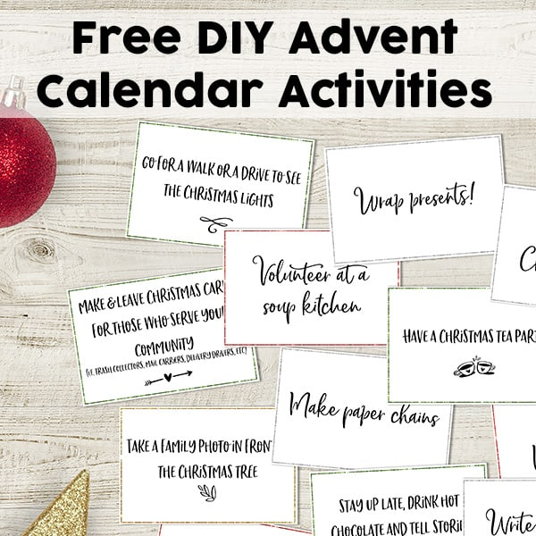 Free DIY Advent Calendar Activities: 60 Fun Advent Activity Cards