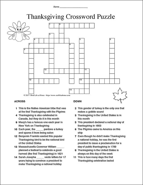 graphic about Printable Crossword Puzzles Middle School named Thanksgiving Crossword Puzzle for Small children: Enjoyable and Absolutely free Match