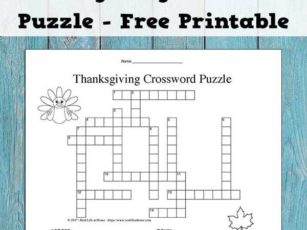 thanksgiving crossword puzzle printable for kids