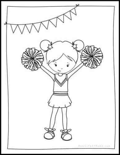 Free Cheerleader Printables Packet for preschool and kindergarten featuring cheerleading worksheets with basic skills plus 3 fun cheerleading coloring pages #cheerleading #cheerleader #FreePrintables