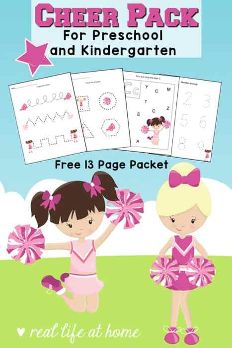 Free Cheerleader Printables Packet for preschool and kindergarten featuring cheerleading worksheets with basic skills plus 3 fun cheerleading coloring pages #cheerleading #cheerleader #FreePrintables