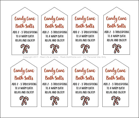 Homemade peppermint bath salts are a great DIY gift for the holidays! Here's a recipe for candy cane bath salts plus a free printable set of gift tags. #HomemadeGifts #PeppermintBathSalts #PrintableGiftTags   Real Life at Home