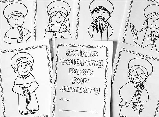 Free Printable January Saints Coloring Book for Catholic Kids