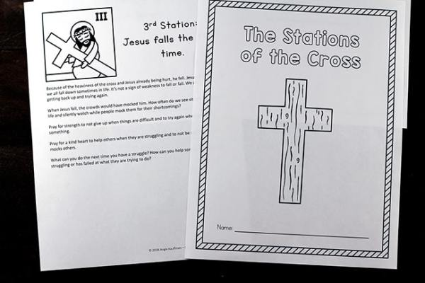 Printable Stations of the Cross Reflections and Prayers of Kids - Full Sized Page Format (makes a 15 page book) #CatholicPrintables #Lent #StationsOfTheCross
