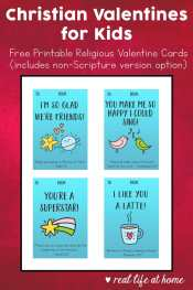 Free printable religious valentine cards for kids with fun designs that you can print at home. These Christian Valentine Cards have a small Scripture verse at the bottom of each valentine. (There is also a version of each of these cards without the Scripture verse.) | Real Life at Home