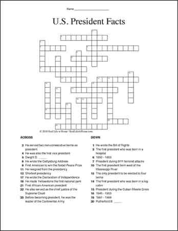 President Facts for Kids: Free U.S. Presidents Crossword Puzzle Worksheet | Real Life at Home