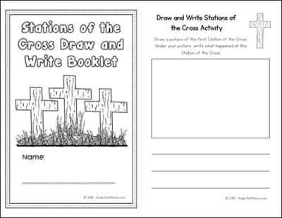 Stations of the Cross Draw and Write Activity Booklet - version three sample page | Real Life at Home