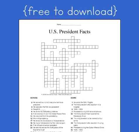 President Facts for Kids: Free U.S. Presidents Crossword Puzzle