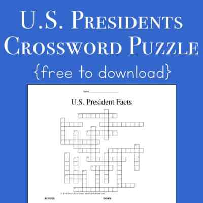 President Facts for Kids: Free U.S. Presidents Crossword Puzzle Worksheet