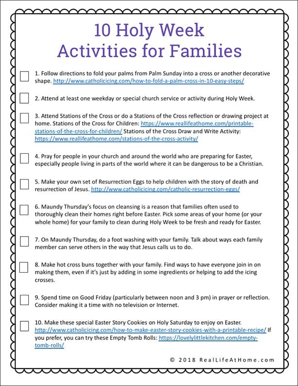graphic about Holy Week Activities Printable known as Lent Functions for Children and Households (Products, Printables