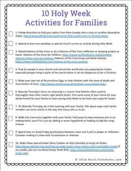10 Holy Week Activities for Families Free Printable