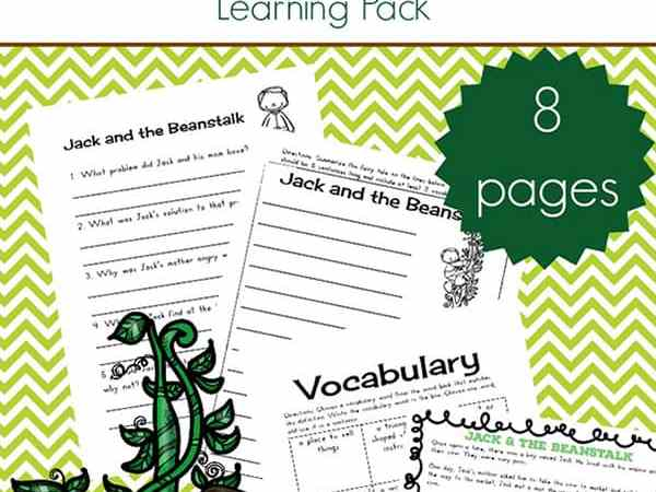 Jack and the Beanstalk Worksheets and Printables Packet for Kids
