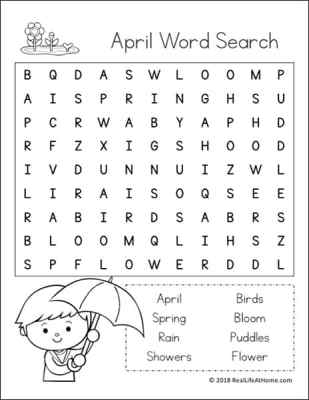 Free Printable April Word Search Printable Puzzle For Kids