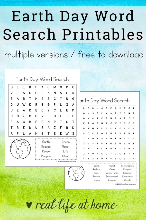 Earth Day Word Search Printable Packet for Kids Includes Two Versions