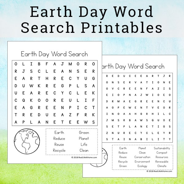 picture regarding Earth Day Word Search Printable identified as Entire world Working day Phrase Look Printable Packet for Small children (Consists of